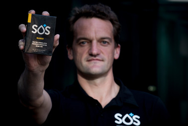 Tom Mayo, owner of SOS, has been told by MPI to add more sugar to the product or stop selling it as an electrolyte or hydration product. Photo / Dean Purcell.