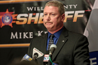 Will County Sheriff's Department Deputy Chief Rick Ackerson speaks in April during a news conference on the death of Semaj Crosby in Joliet. Photo / AP