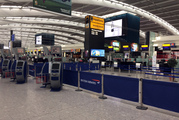 A view of Terminal 5 check in desks, at London's Heathrow airport after flights were cancelled due to the airport suffering an IT systems failure. Photo / AP