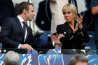 French president Emmanuel Macron, left, and France's First Lady Brigitte Trogneux prior to the French Cup 2017 Final soccer match. Photo / AP