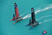 Artemis Racing and Emirates Team New Zealand compete during America's Cup qualifying on the Great Sound in Bermuda on Monday, May 29, 2017.