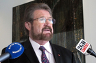 Australian independent and New Zealand-born senator Derryn Hinch holds a press conference in Parliament House in Canberra welcoming the government support for legislation he helped draft. Photo / AP