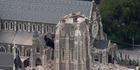 The partially collapsed Christ Church Cathedral on the evening of the February 22 2011 Christchurch earthquake. Photograph / Mark Mitchell