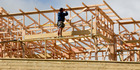 A builder at work on a house under construction in Papakowhai, Porirua. photograph by Mark Mitchell NZH
