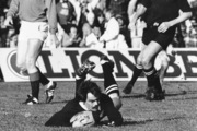 Dave Loveridge scores the only try of the second test against the Lions at Athletic Park. Photo / New Zealand Herald
