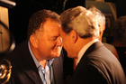 Former Labour Party MP Shane Jones gives a hongi to NZ First leader Winston Peters in 2015 after the Northland byelection. Northern Advocate Photograph by Peter de Graaf.
