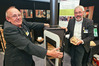Erich Widmer and Envirosolve director Dr. Rene Haeberli with a bionic fire at the Home & Living Show. Photo/Warren Buckland