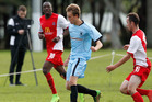 Northland FC's Max Thomas looks for some space in his side's 4-1 loss to Fencibles United. Photo/John Stone