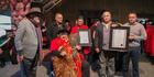 Hekenukumai Busby and whanau at Te Manuka Tutahi Marae in Whakatane after receiving his honorary doctorate from Te Whare Wananga o Awanuiarangi. Photo/Te Whare Wananga o Awanuiarangi