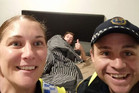 Tasmanian police take a selfie for a drunk man to remember how he got home. Photo / Facebook