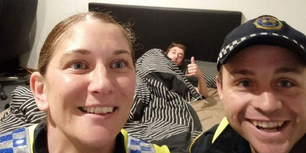Police brings drunk man home, snaps selfie with him