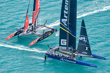 Emirates Team New Zealand and Artemis cross each other during this morning's race.Photo / Ricardo Pinto