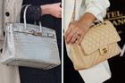 Hermes with a Birkin style designed by Jean-Paul Gaultier (left) is still the most valuable ever auctioned. Chanel (right) is also a good expensive make to auction. Photos / Getty Images