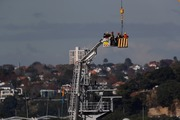 Three people are rescued from the crane. Photo / Dean Purcell