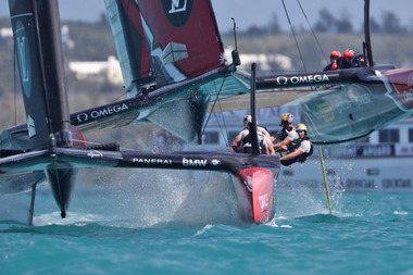 Oracle Team USA surged from behind to beat Emirates Team New Zealand. Photo / Gilles Martin-Raget