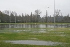 Rain swamped the sports field at Greerton Marist Rugby Club on Saturday. Photo/Maxine Paterson