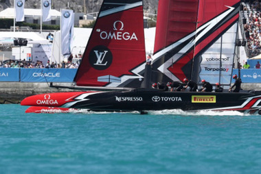 Emirates Team New Zealand cross the finish line in their race one win over Team France. Photo / Gilles Martin-Raget