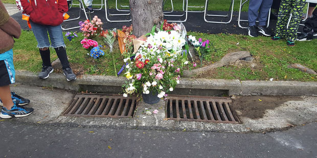 Flowers at the site of the death of Violet Tupou. Photo / Aupito Su'a William Sio via Facebook