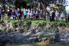 Durie Hill School pupils gather by Matarawa Stream. Photograph by Stuart Munro