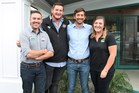 Among those elected at the Feds' Taranaki AGM in April are, from left, Matthew Herbert, James Lawn and Nick Brown with Jessie Waite.