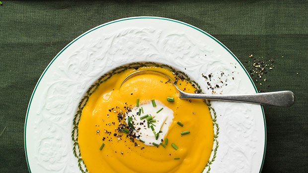 Roast garlic and butternut soup. Photo / Tam West