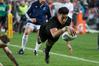 All Blacks winger Rieko Ioane scores in the corner. Photo / Brett Phibbs