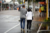 The brollies were out in central Tauranga yesterday, but the worst of the weather was yet to come. Photo/Andrew Warner.