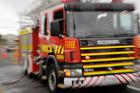 Eight fire trucks are battling a blaze in a Taranaki takeaway shop. Photo/Bevan Conley