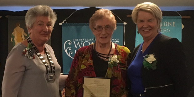 Betty Goldsworthy after receiving her WI Gold Honours Award with WI national president Kay Hart and Nicky Wagner, MP Minister of Greater Christchurch Regeneration, on Monday, May 29.