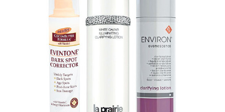 Palmer's Eventone Dark Spot Corrector ($20); La Prairie White Caviar Illuminating Clarifying Lotion ($300); and Environ Skincare Evenescence Clarifying Lotion ($96).