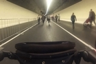 A pram's eye view of the new Waterview tunnel on its opening day/ Video/Jason Winstanley