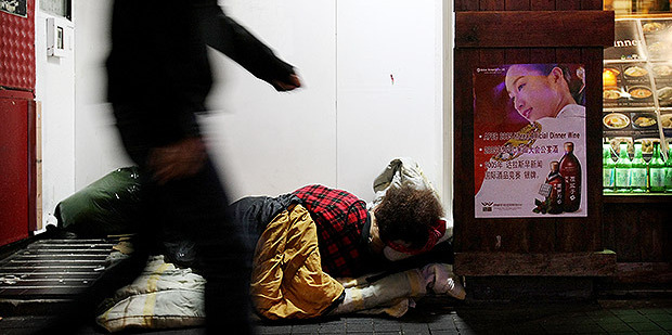 One of Auckland City's rough sleepers on Queen St. Photo / File