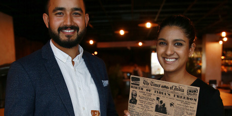 Harry Singh and Angela Gaikwad from 1947 Eatery in Federal Street. Photo / Doug Sherring