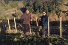 Ray Hina and Horizons' freshwater co-ordinator Clare Ridler contemplate planting near Pakaraka Pa. Photo/Supplied