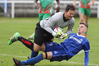 Rovers striker Angus Kilkolly comes in late on Wairarapa United goalkeeper Coey Turipa in the first half ofthe the third-round Chatham Cup soccer match in Napier today. PHOTO/Duncan Brown