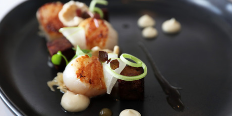 The scallop and pork hock entree. Photo / Getty Images