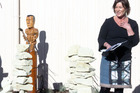 Programme director Ann Byford speaks at the Karaka Special Treatment Unit art unveiling.
