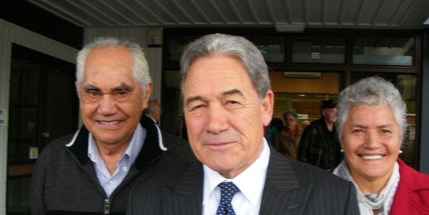Winston Peters (centre) at the Hamilton Celebrating Age Centre on Monday where he addressed a meeting of Hamilton Grey Power members. Photo/Geoff Lewis