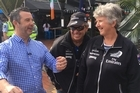 Tony Veitch talks to Burling's parents Richard & Heather today at the America's Cup Parade.