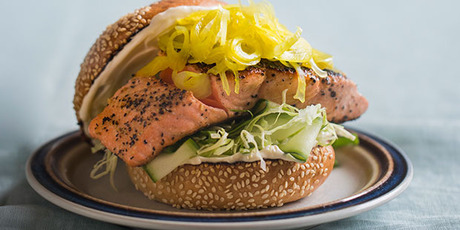 Salmon burger with pickled fennel. Photo / Bite magazine