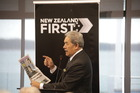 NZ First leader Winston Peters pulls no punches while talking to supporters at a meeting in Tauranga today. Photo/Andrew Warner