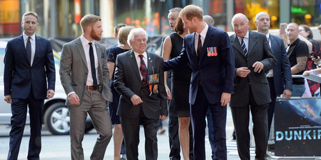 Prince Harry arrives with war veterans at the Dunkirk world premiere in London. Photo / Getty