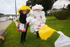 Plastic Bag Free Whanganui group members Larinae Steward and Andrea Gardner, whose outfit is made from 300 bags or 8 mins of shopping in Whanganui.