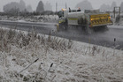 WINTRY BLAST: A gritter at work clearing SH4 near Horopito on Wednesday morning.