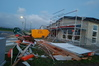 There were portaloos and fences down on building sites in Papamoa East after last night's storm. Photo/Samantha Motion
