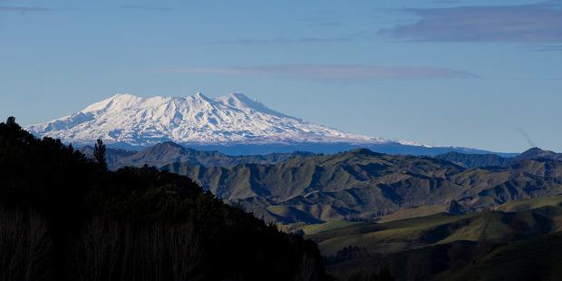 Mt Ruapehu seen from hills near Taumarunui. Photo / Mike Scott