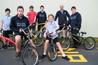 The cycle recycle group (from left) Hayden McGregor, 14, Dillan Davey, 13, Carter Fearton, 16, Josh McLaughlin, 14, Kane Lovich, 13, Joseph Sopers, and Bailey Matthys, 14.  Photo / Geoff Lewis