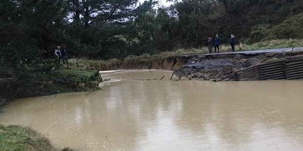 A major washout between Alfredton and Tiraumea following last week's storm. Photo / Supplied