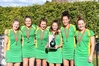 Central U18 players from Hawke's Bay Arabella Shield (left), Bella Greig, Olivia Shannon, Rileigh Knapp, Kaitlin Cotter, and Olivia Ward with the spoils. Photo/supplied