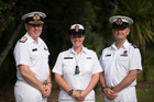 Acting Petty Officer Jo Stewart (centre) with with Chief of Navy Rear Admiral John Martin (left) and Warrant Officer of the Navy Steve Bourke. Photo / Supplied
